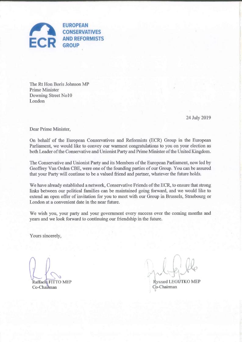 ECR Co-Chairs write to congratulate Boris Johnson
